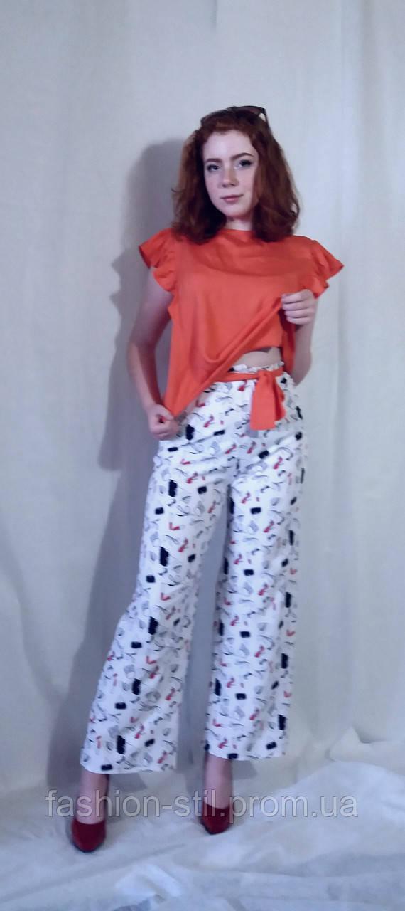 Штани жіночі брюки літні чорні та білі з принтами Штаны женские из супер  софта с принтом летние 429d6aab126a7