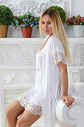Белый шелковый комплект с кружевом, идеально для невесты Кб031н