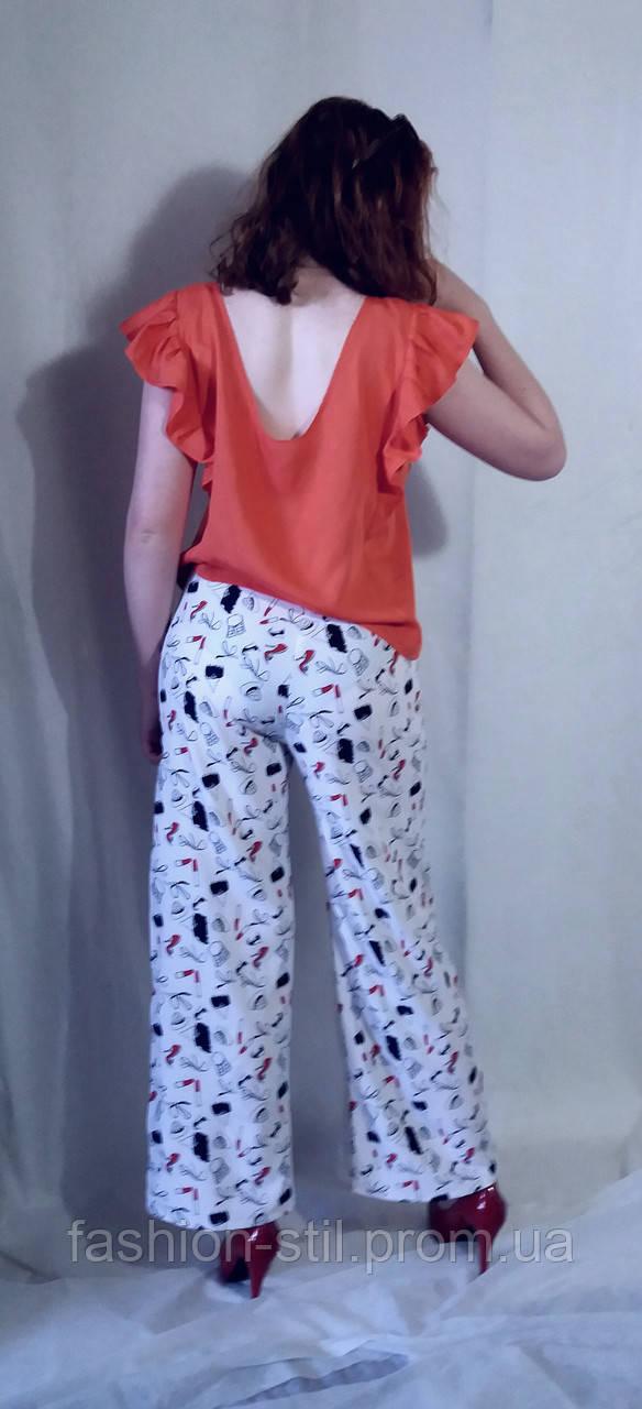 Штани жіночі брюки літні чорні та білі з принтами Штаны женские из супер  софта с принтом ... 5c1e7e7b47695