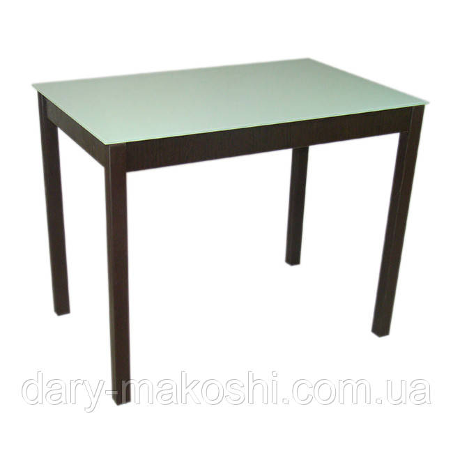 Стеклянный обеденный стол Видрис 93смх60смх75см с прямыми ногами из натурального дерева