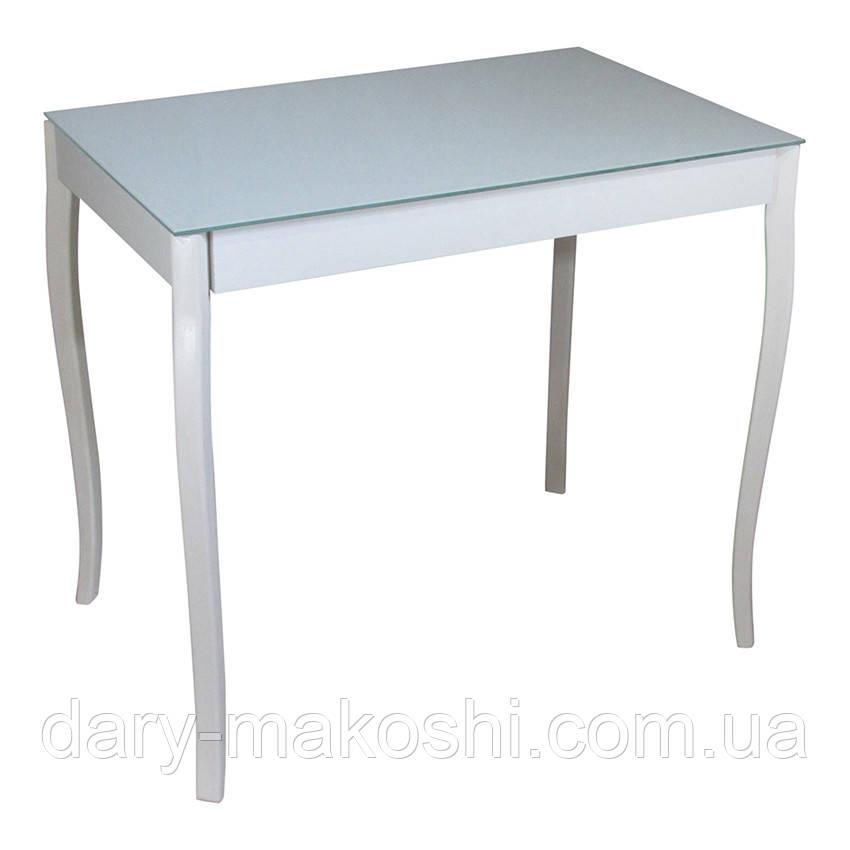 Стеклянный обеденный стол Видрис 93смх60смх75см с фигурными ногами из натурального дерева
