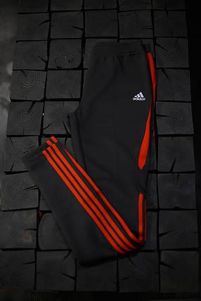 Женские лосины Adidas.Тёмно серые/три полоски , фото 2