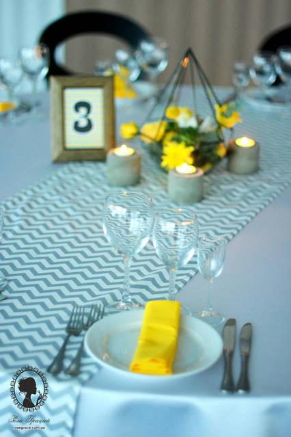 Выездная церемония и банкет в ресторане Интурист в жёлто-серых цветах 10