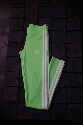 Женские лосины Adidas.Салатовые/три полоски , фото 2