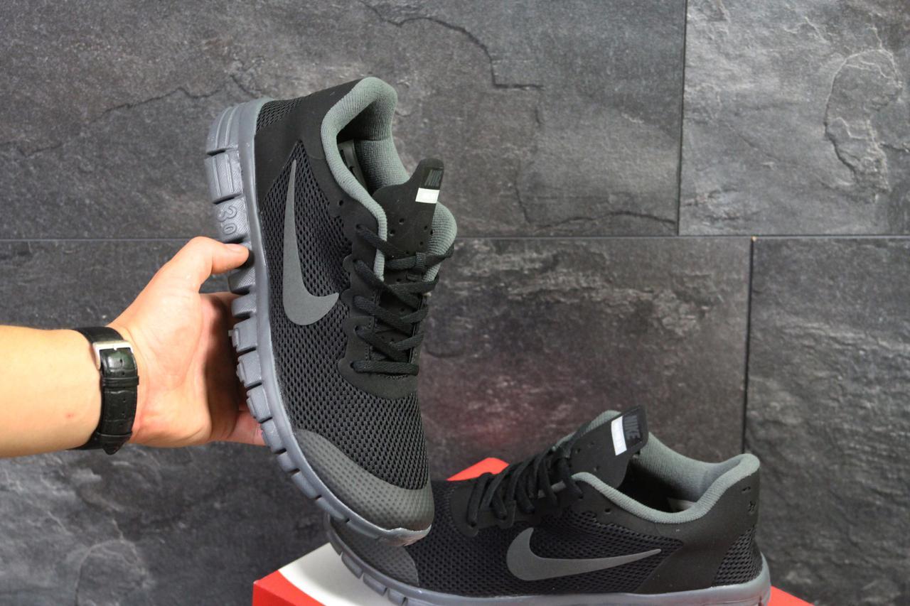 Кроссовки мужские Nike Free ran 3.0 черные с серым (Реплика ААА+) - bonny 7aa9a769648a8