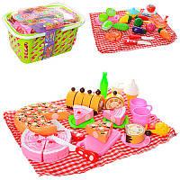 Игровой набор продукты на липучке сладости, пица, приборы, в корзинке, 2 вида, 6802-03