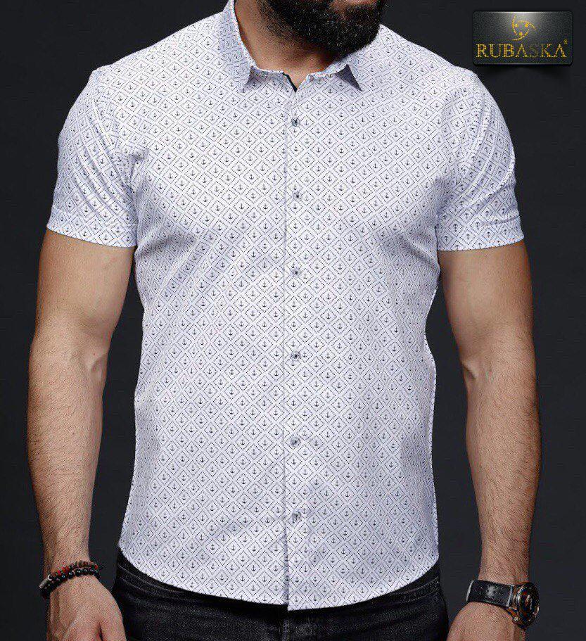 Стильная мужская рубашка с короткими рукавами производство Турция,С,М,Л,ХЛ