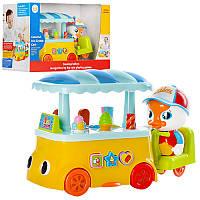 Детская музыкальная развивающая игрушка- машинка кафе на колесах, музыка, звук английский, свет, 6101