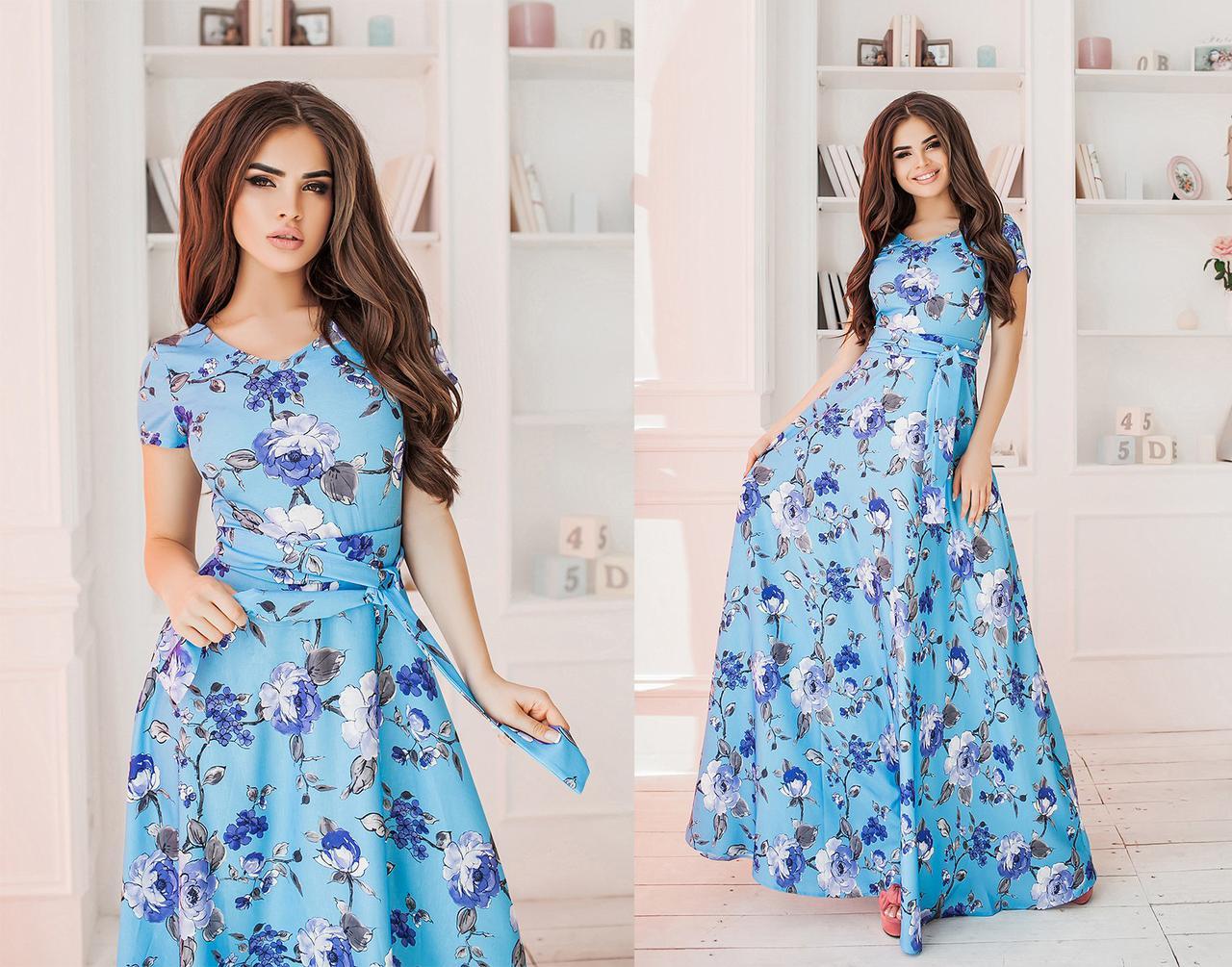 Льняное платье в цветок