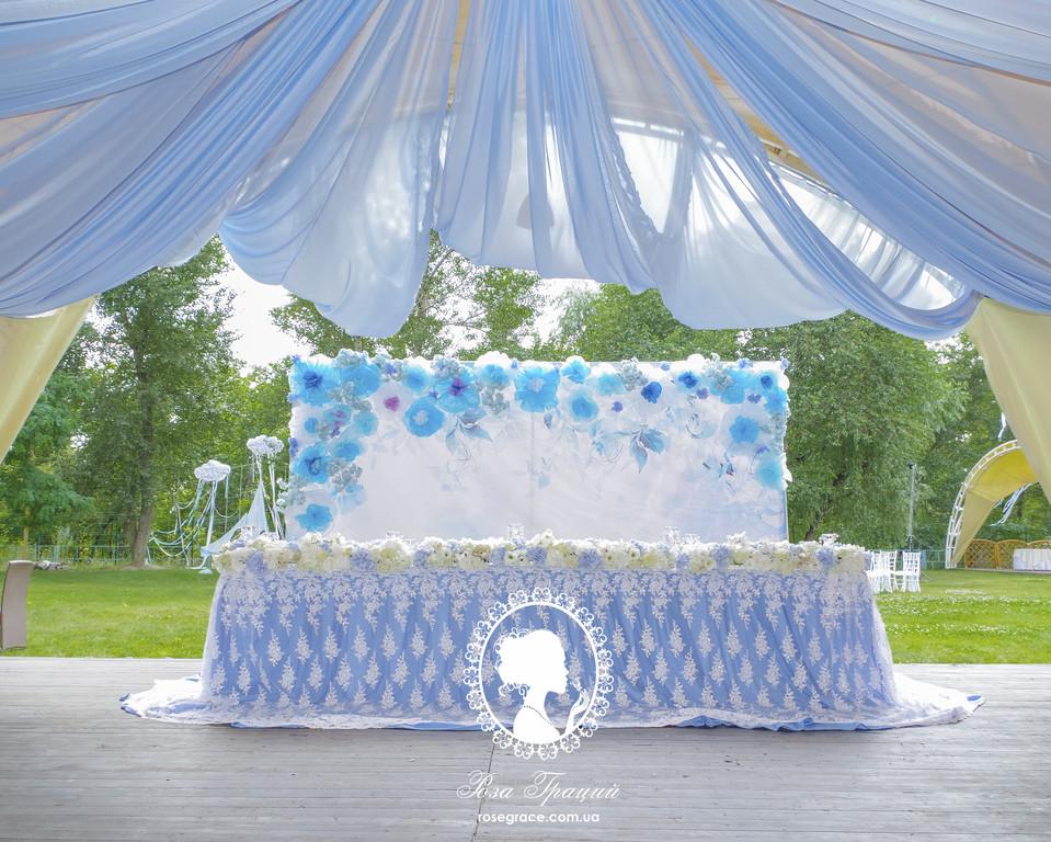 Нежно голубая свадьба в ресторане Рейкартц