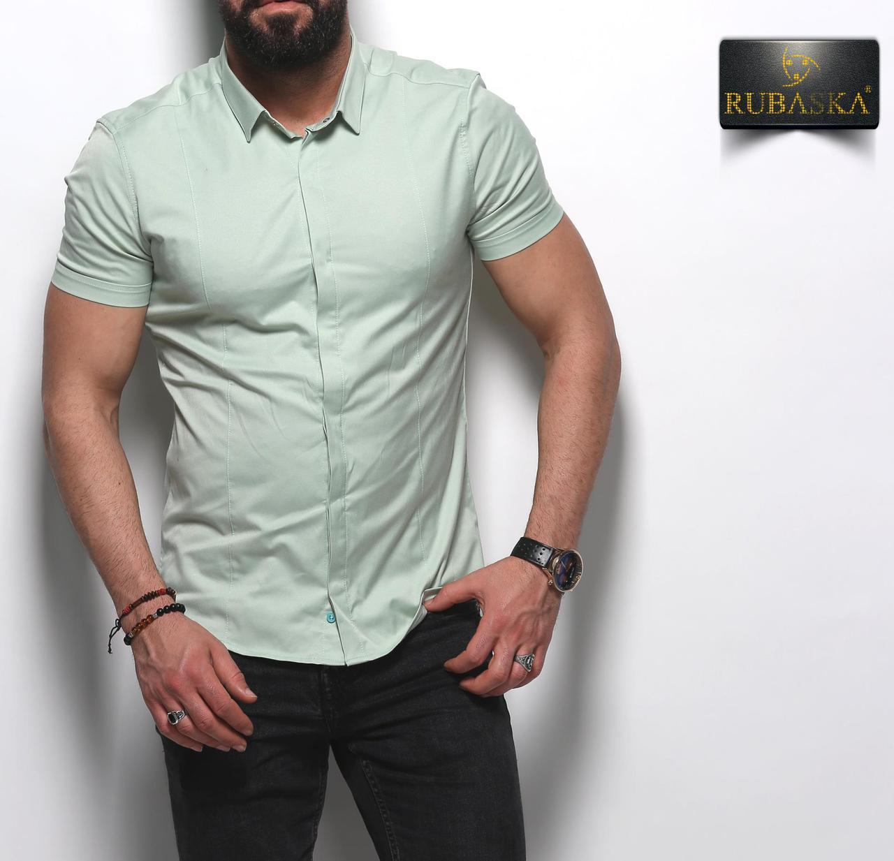 Стильная классическая мужская рубашка с короткими рукавами производство Турция,С,М,Л,ХЛ