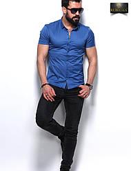 Стильная синяя классическая мужская рубашка с короткими рукавами производство Турция,С,М,Л,ХЛ