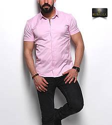 Стильна рожева класична чоловіча сорочка з короткими рукавами на гудзиках Туреччина,С,М,Л,ХЛ