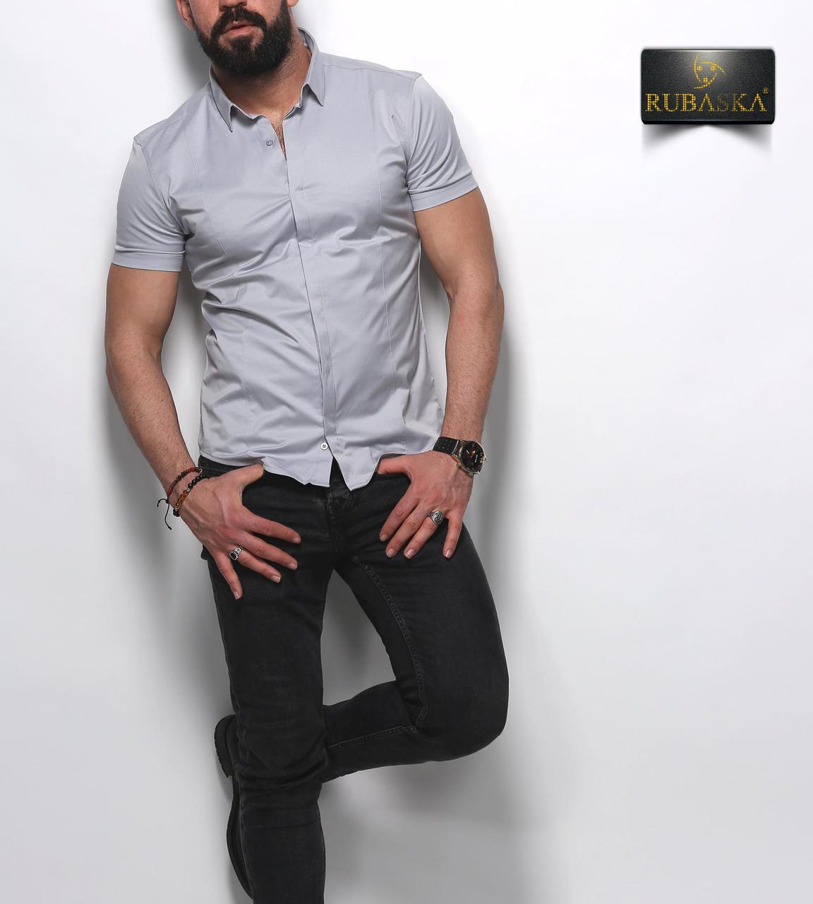 Стильная серая классическая мужская рубашка с короткими рукавами на пуговицах Турция,С,М,Л,ХЛ