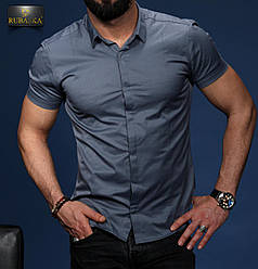Стильна синя класична чоловіча сорочка з короткими рукавами на гудзиках Туреччина,С,М,Л,ХЛ