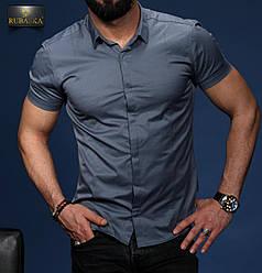 Стильная синяя классическая мужская рубашка с короткими рукавами на пуговицах Турция,С,М,Л,ХЛ