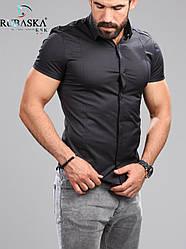 Стильна чорна класична чоловіча сорочка з короткими рукавами на гудзиках Туреччина,С,М,Л,ХЛ