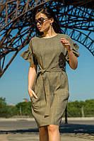 Модное платье из ткани лен с поясом