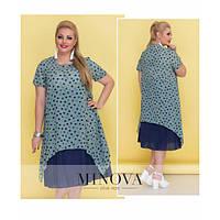7e1ed8e96d1 Платье женское большого размера-миди с короткими рукавами из  комбинированного материала в горох MNV-