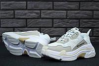 Кроссовки женские в стиле Balenciaga Triple S - White, материал - кожа+текстиль, подошва - пена