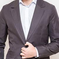 Пиджак мужской приталенный модный Time of Style мокрый асфальт