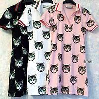 Женское платье принт коты