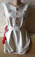 Плаття - вишиванка на сірому габардині розмір М