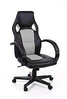 Офисный стул-кресло на колесиках черного цвета Race grey