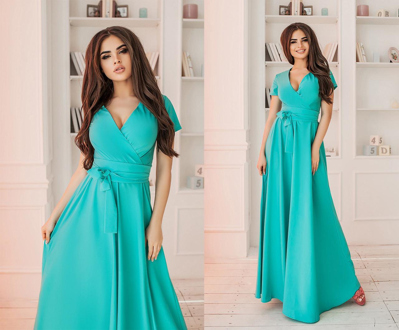 Однотонное платье в пол