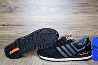 Кроссовки мужские в стиле Adidas NEO OD-1363 Материал замша. Черные