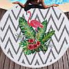 Круглый пляжный коврик (подстилка для пляжа) черно-белая Фламинго с бахромой