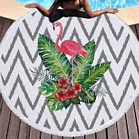 Круглый пляжный коврик (подстилка для пляжа) черно-белая Фламинго с бахромой, фото 1