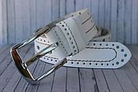 Мужской ремень пояс белый кожаный 4 см