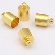 Концевик-колпачок  для шнуров и бисерных жгутов, 6 мм, цвет желтое золото, 1 пара