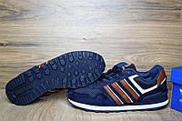 Кроссовки мужские в стиле Adidas NEO OD-1361 Материал замша. Синие