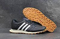 Кроссовки мужские в стиле Adidas Neo SD-4301 Материал натуральная кожа. Темно-синие