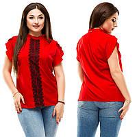 Женская стильная летняя блуза с кружевной вставкой.БАТАЛ, фото 1