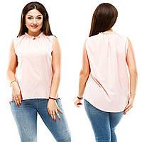 Женская стильная летняя блуза с пуговкой спереди.БАТАЛ, фото 1
