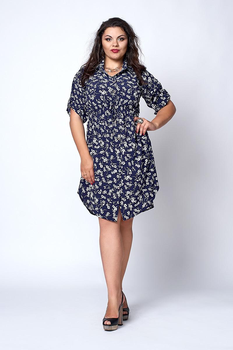 Легкое летнее женское платье-рубашка с цветочным узором белый цветок