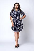 Легкое летнее женское платье-рубашка с цветочным узором белый цветок, фото 1
