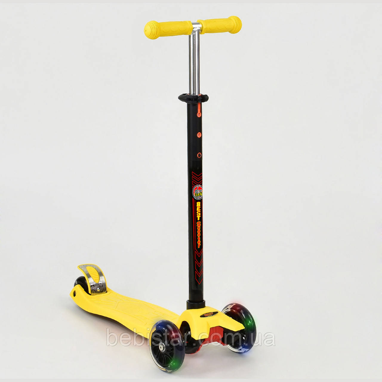 Самокат детский четырехколесный со светящимися колесами желтый от 5 до 10 лет