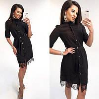 Платье-рубашка женское из ткани супер-софт с пояском P9504, фото 1