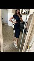 Платье -лапша , чёрное, белое, с яркими вставками, хлопок, фото 1