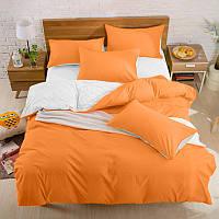 Подростковый комплект постельного белья Сатин Премиум Оранжевый + Белый