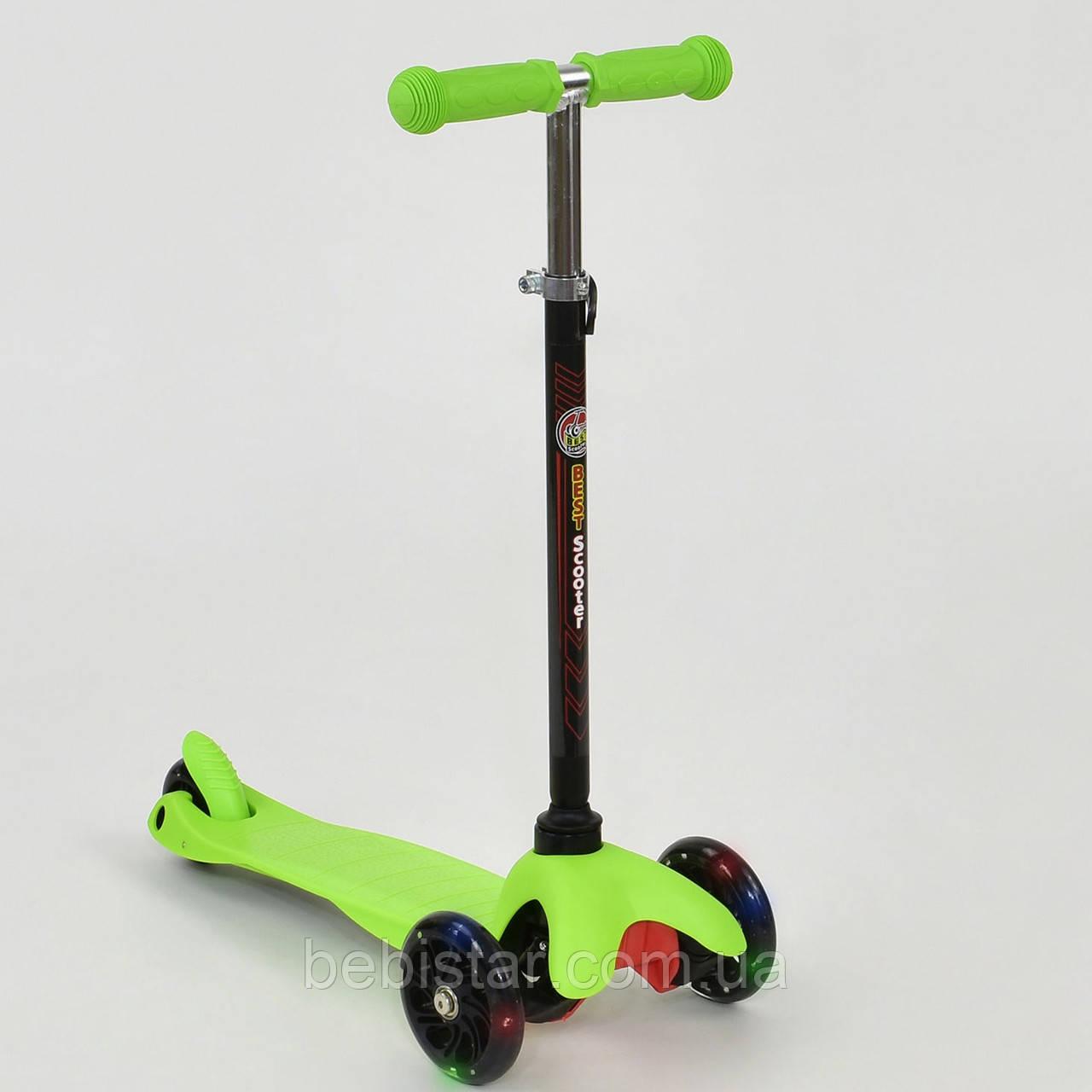 Самокат трехколесный детский светящиеся колеса салатово-черный от 2 до 5 лет