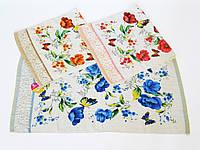Махровое лицевое полотенце 90х49см (бабочки, велюр)