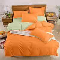Подростковый комплект постельного белья Сатин Премиум Оранжевый + Олива
