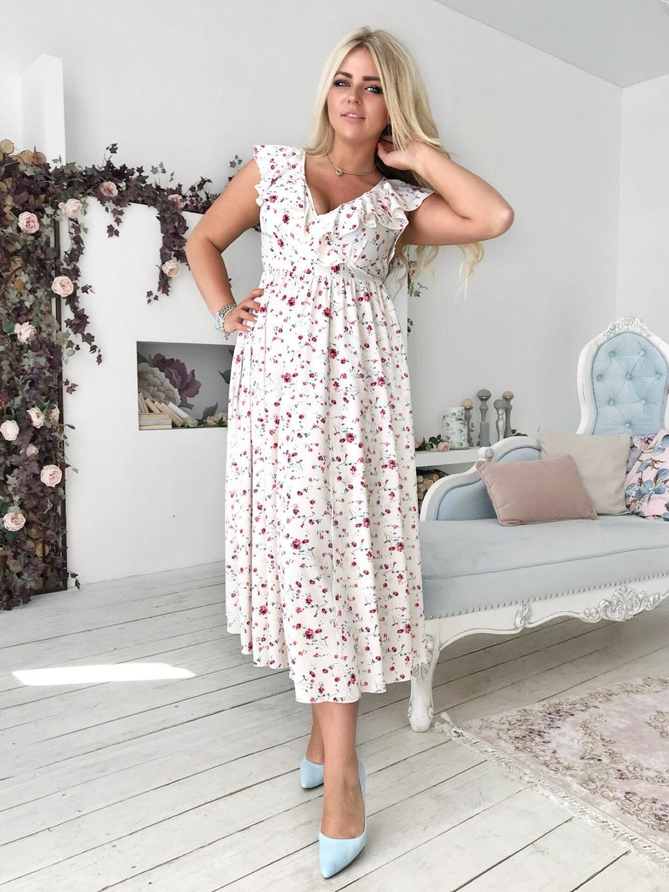 971e6a875b6 Летнее приталенное миди-платье в цветочек