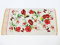 Махровое лицевое полотенце 90х49см (бабочки, велюр) Красный