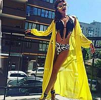 Накидка на купальник пляжная, парео, туника длинная в пол желтая